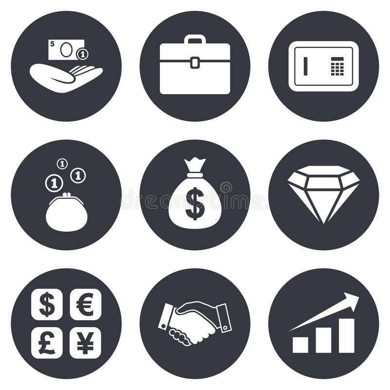 Money Cash And Finance Icons Handshake Sign Stock Vector