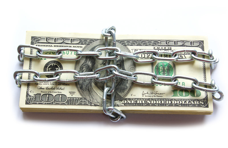 Money in chain. Dollars locked a chain on a white background royalty free stock photos