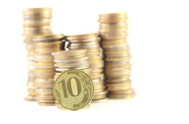 Money change. A handful of small money penny dollar Russian ruble Russian money stock photos