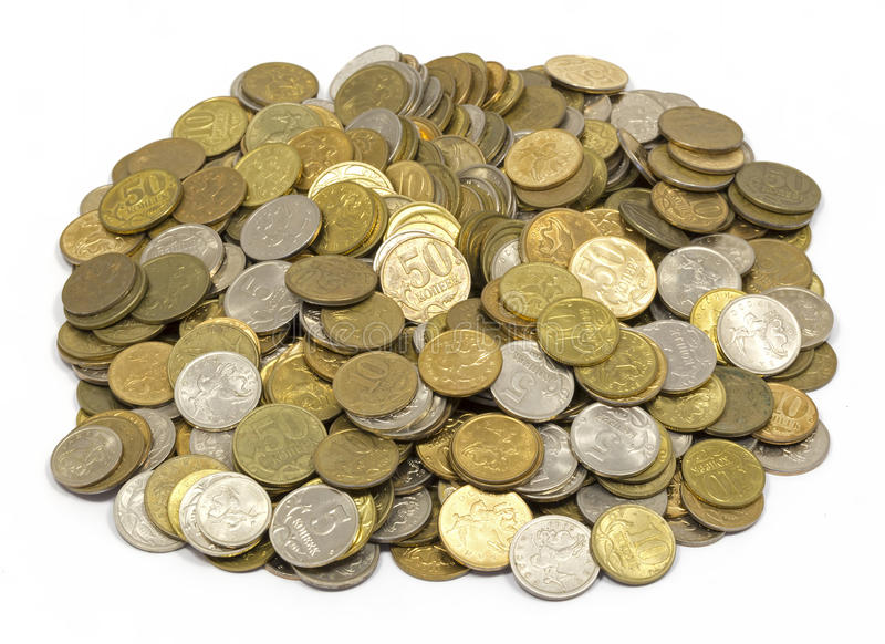 Money , change , penny, pile of cents. White background stock photos
