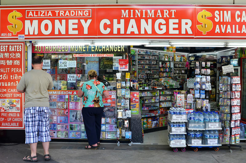 Money changer shop on Orchard Road, Singapore stock image