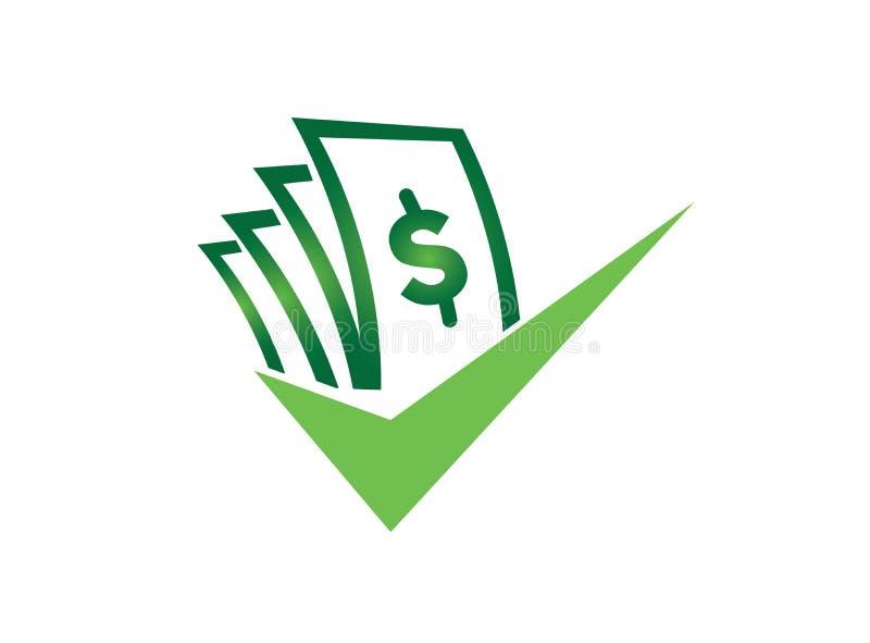 Money with check mark for logo design illustrator, good deal symbol, investment business icon stock illustration