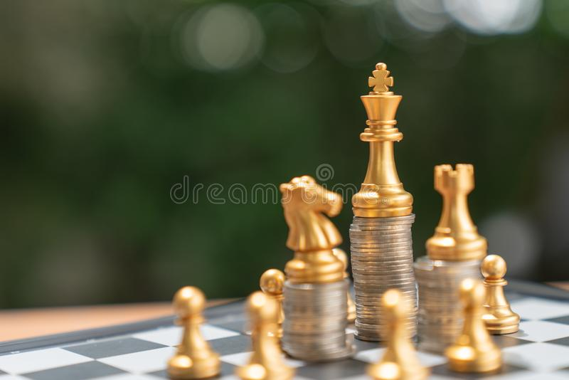 Money chess game business ,the strategy investment with your mon stock images