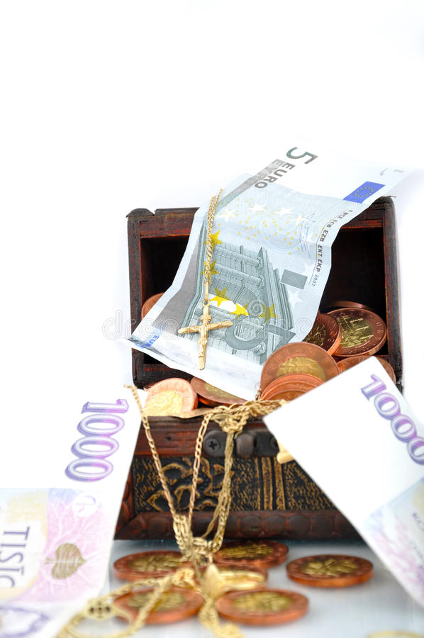 Money In A Chest Royalty Free Stock Photo