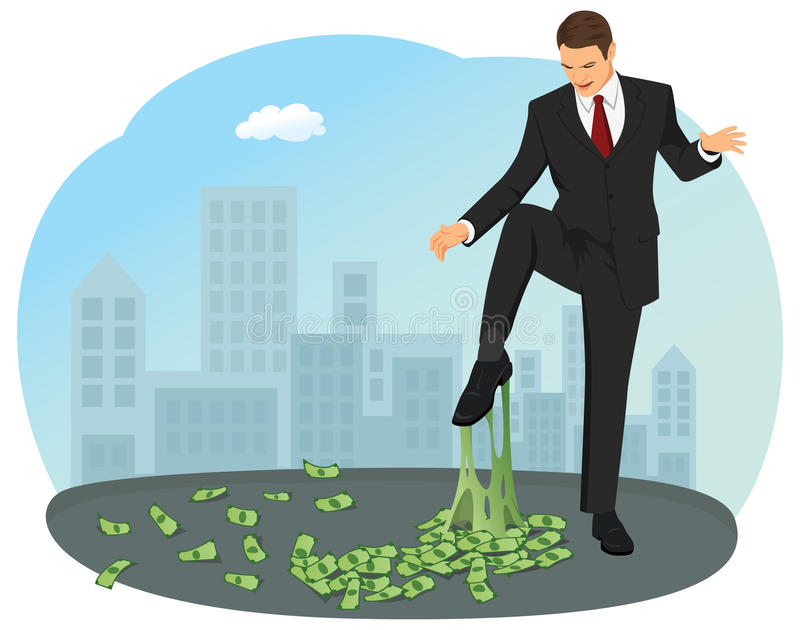 Money chewing gum. Businessman foot stuck in the money chewing gum. He's unhappy and looking how is it stretching vector illustration