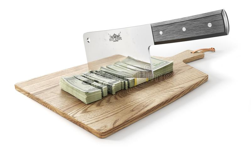 Money is chopped. Big knife cutting money stack on a wooden board. 3d royalty free illustration