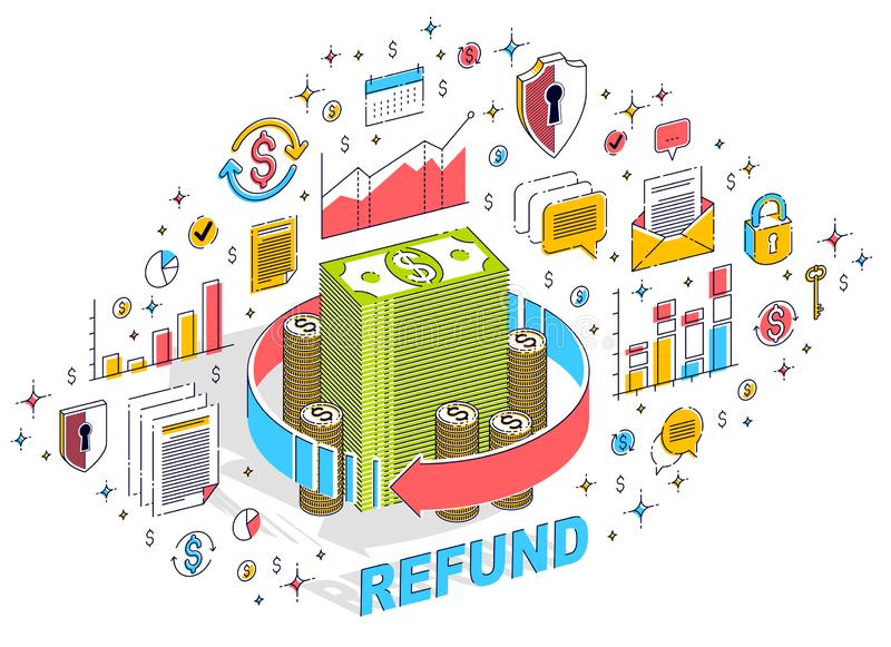 Money circulation, return on investment, currency exchange, cash back, money refund, concepts can be used. Vector 3d isometric. Business illustration with icons vector illustration