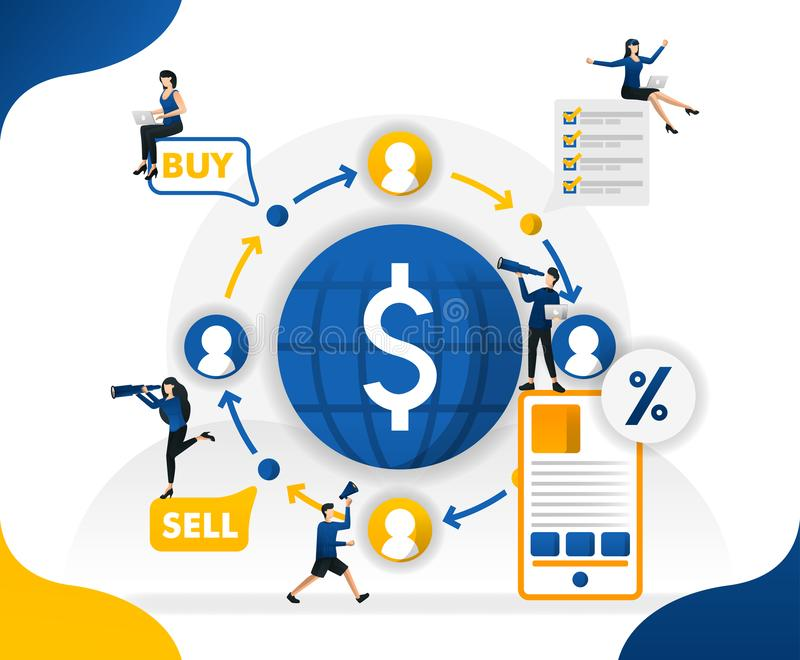 Money circulation and trade in the world. transfer and send currencies from anywhere, concept vector illustration. can use for lan. Ding page, template, ui, web royalty free illustration