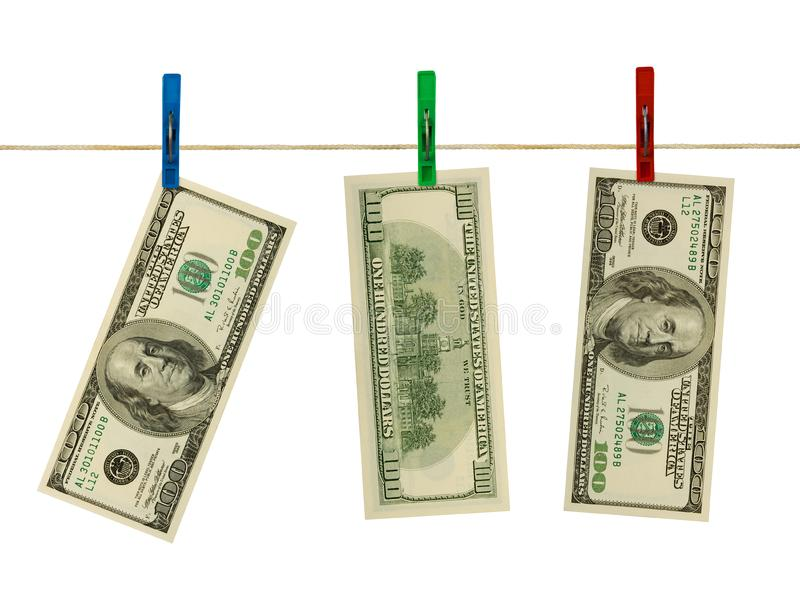 Money on clothespins royalty free stock photography