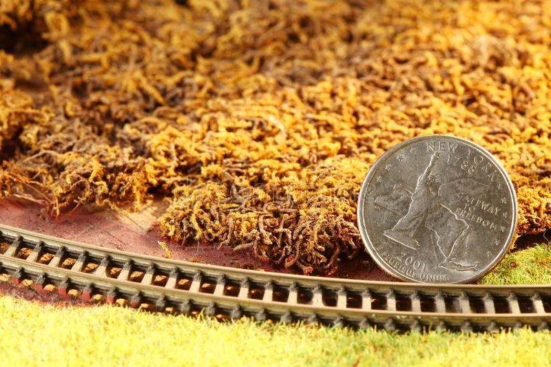 The money coin put on the miniature model railroad model scene. royalty free stock photography