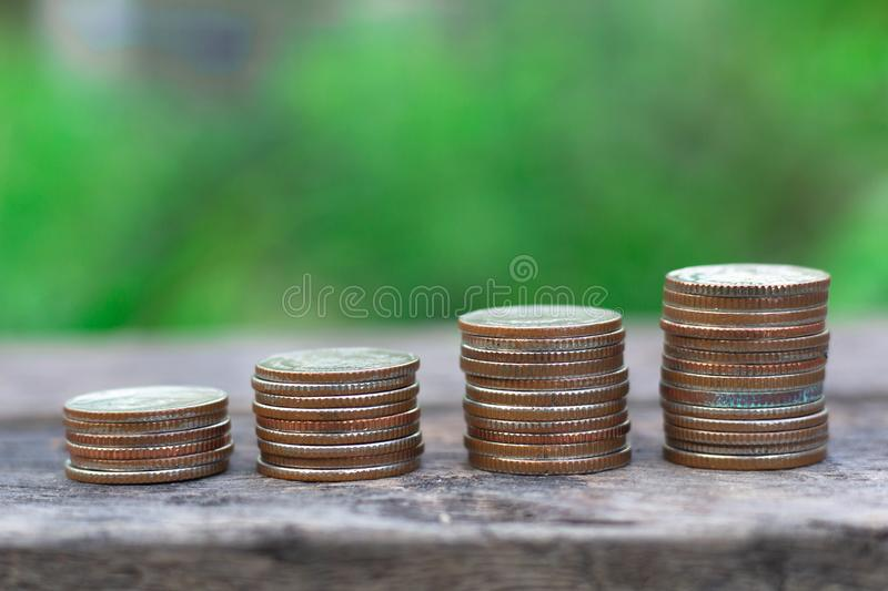 Money coin stack growing graph royalty free stock photography