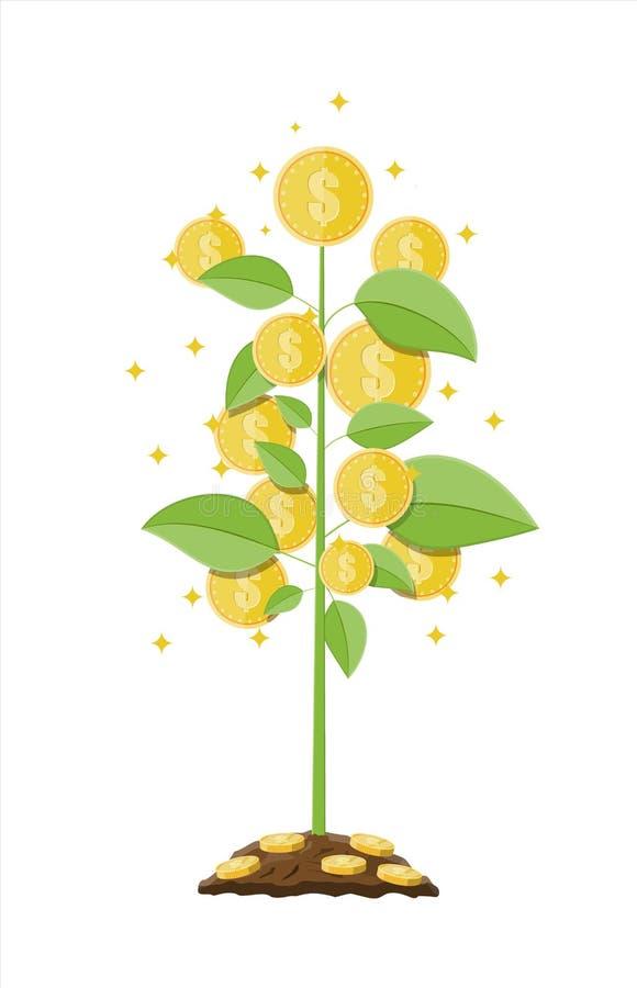 Free Money Coin Tree. Growing Money Tree. Stock Photo - 108357140
