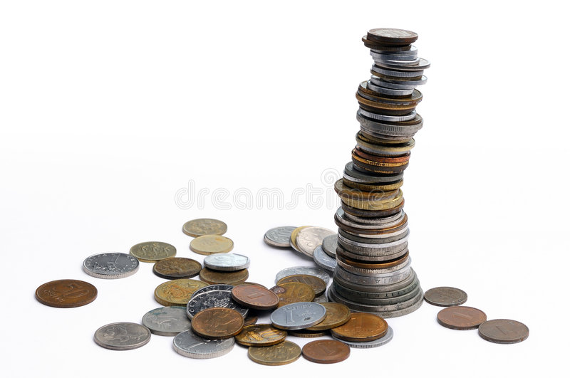 Money coins. In a pile stock photography