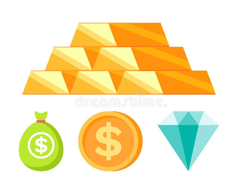 Money and Coins, Bullion and Diamond, Bank Vector. Bullion set, moneybag and coin with dollar icon, diamant sign in flat design style isolated on white, golden vector illustration