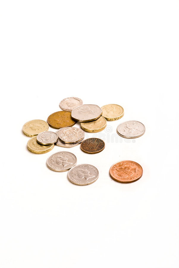 Money coins change on white background. Lose change/ saving money, coins on white royalty free stock images