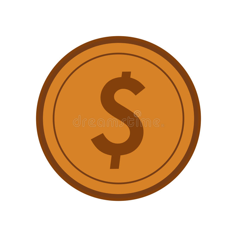 Money coins icon. Gold coins over white background. colorful design. vector illustration royalty free illustration