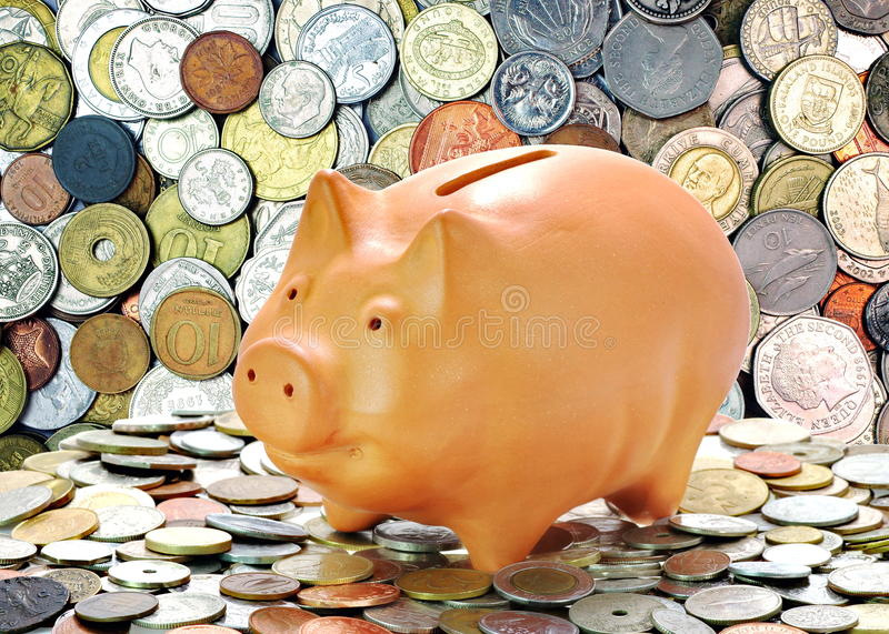 Background Of Money. Money Coins And Piggy Bank. Economic Concept. Financial Background Stock Photo