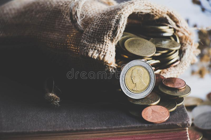 Money coins in the sack stock images