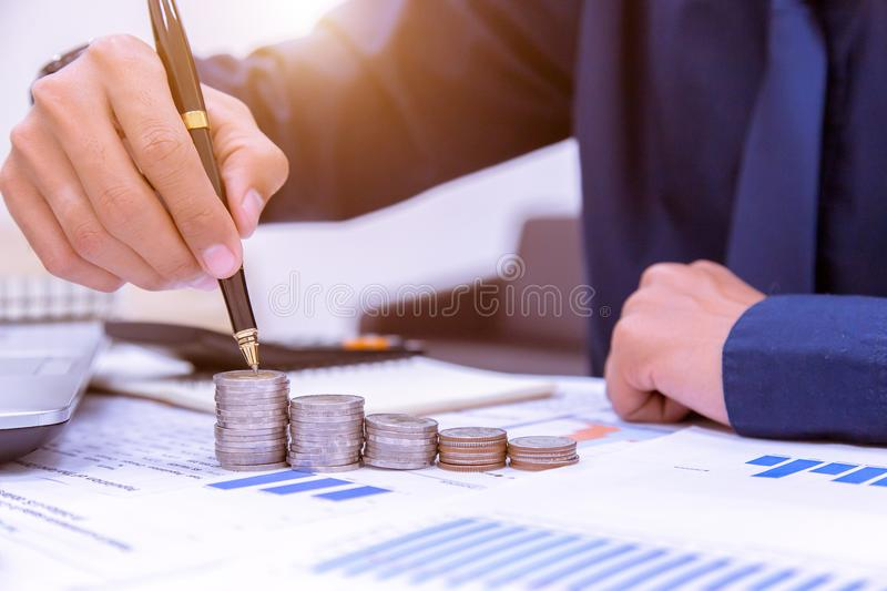 Money coins stack in saving money and growing business concept. royalty free stock images