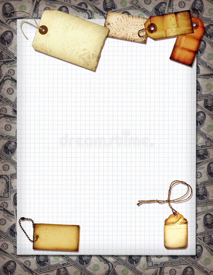 Money Collage. A vintage money collage with various elements stock photo