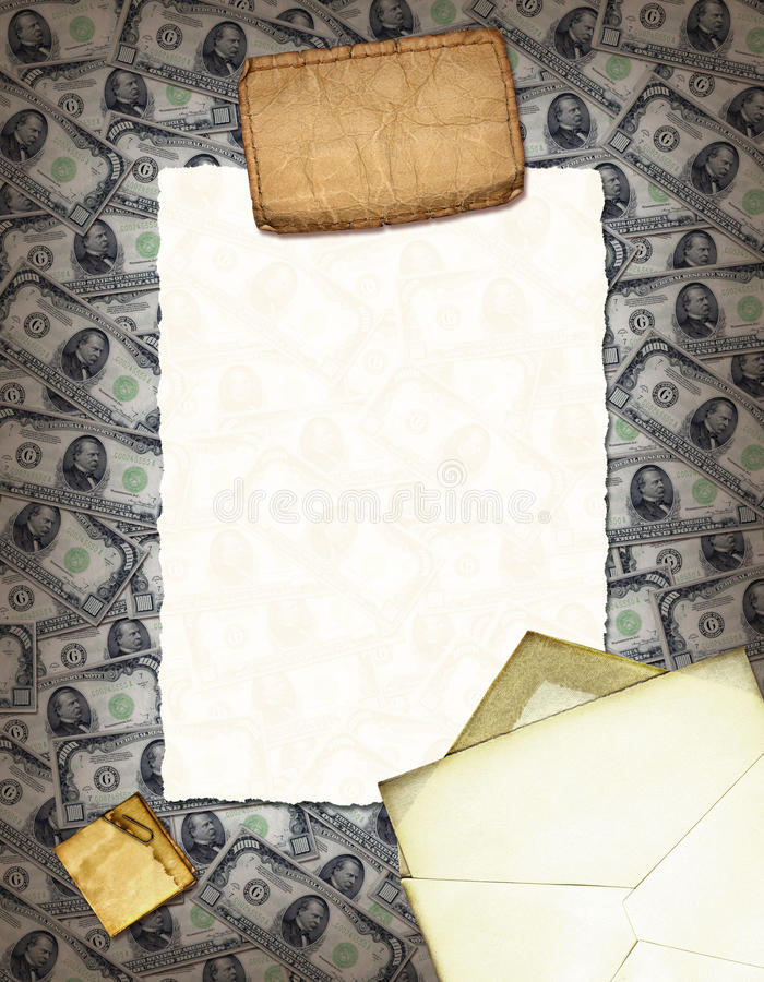 Money Collage. A collage with cash and vintage stuff stock photos