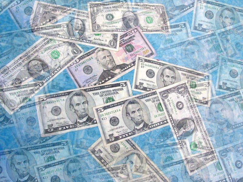 Money Collage. Collage of money bills against blue background