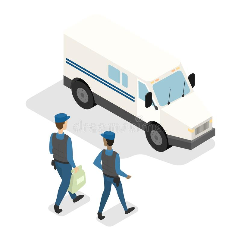 Money collectors walking to the armored truck stock illustration