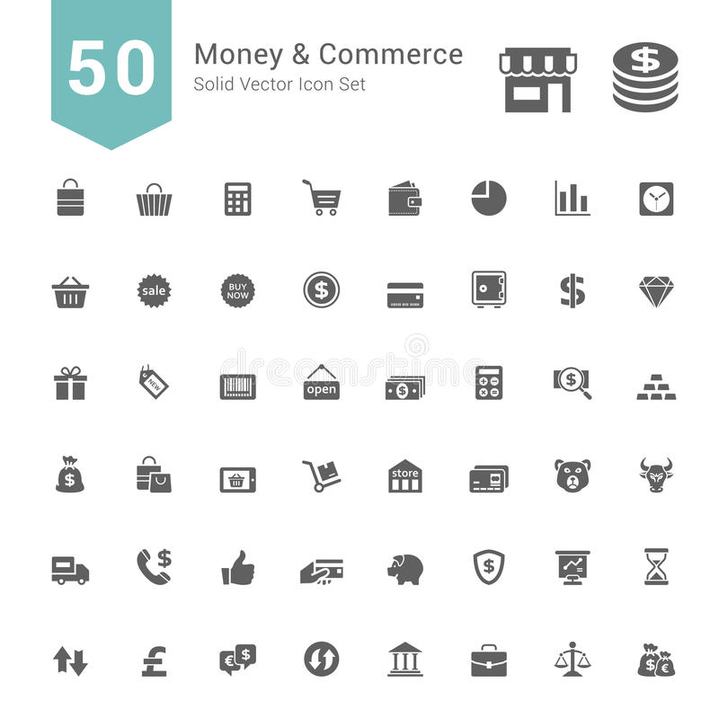 Money and Commerce Icon Set. 50 Solid Vector Icons. vector illustration