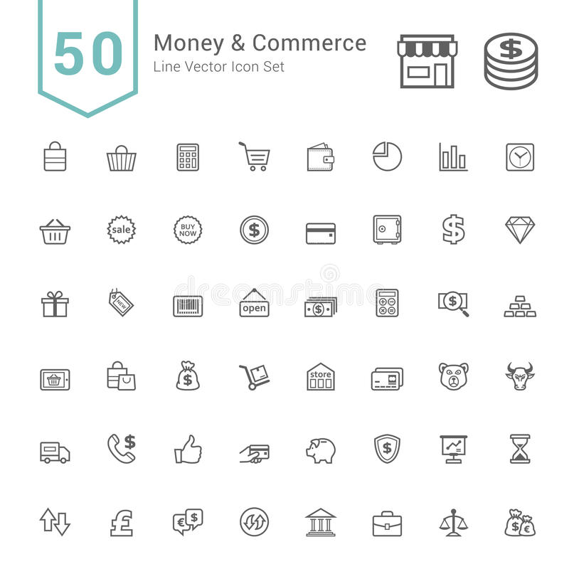 Money and Commerce Icon Sets. 50 Line Vector Icons. royalty free illustration
