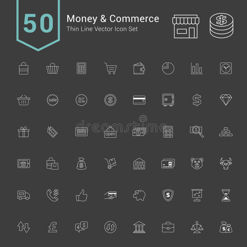 Money and Commerce Icon Sets. 50 Thin Line Vector Icons. vector illustration