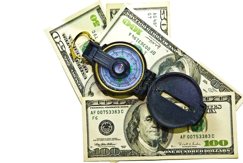 Download Money and Compass stock photo. Image of direction, going - 6028874