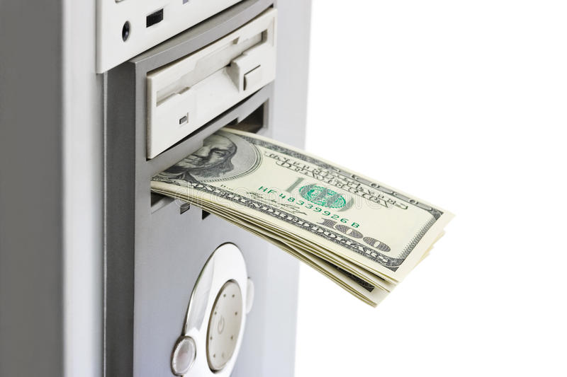 Money and computer royalty free stock photography
