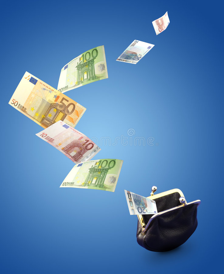 Money concept. Ual image. Euro money fly out from black purse