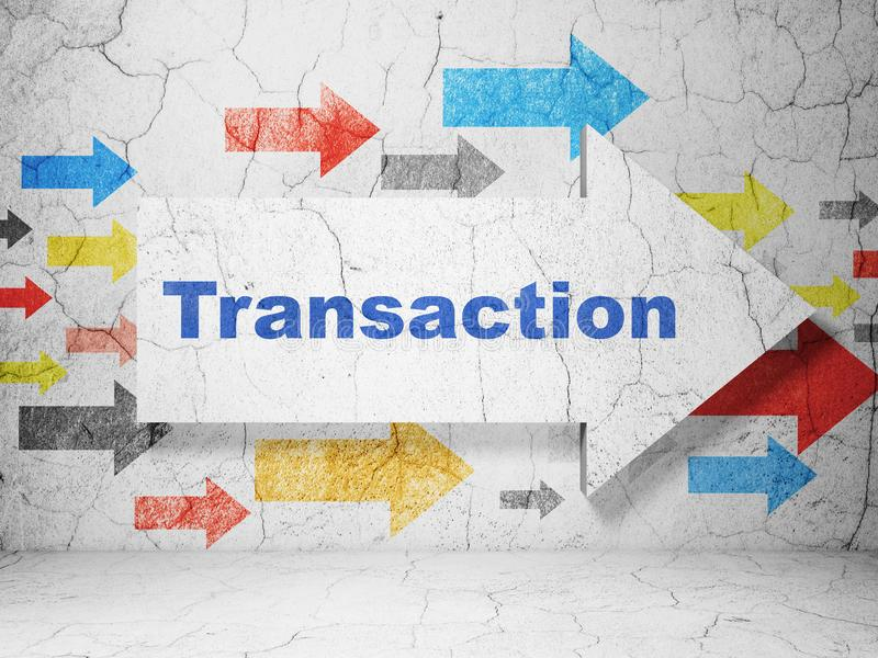 Money concept: arrow with Transaction on grunge wall background. Money concept: arrow with Transaction on grunge textured concrete wall background, 3D rendering royalty free illustration