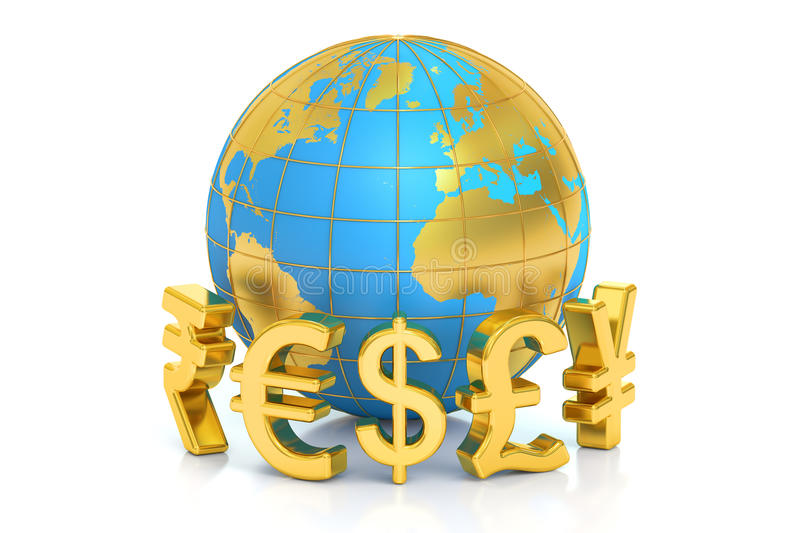 Money concept, global currencies. 3D rendering. On white background stock illustration