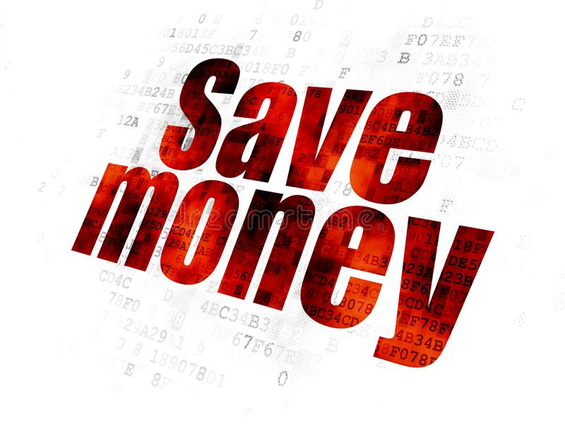 Money concept: Save Money on Digital background. Money concept: Pixelated red text Save Money on Digital background royalty free stock photography