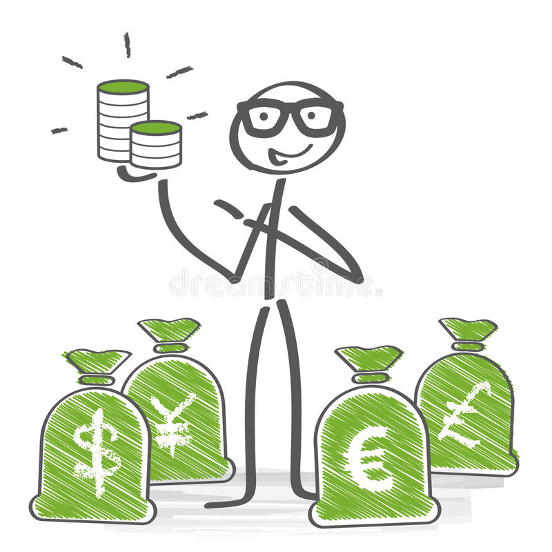 Money concept. Stick figures holding different money currencies in hand