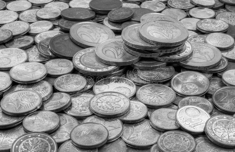 Money crashed Euro and Cent coins. This picture shows crashed euro and cent coins. the German words Einigkeit und Recht und Freiheit are readable at the 2 Euro stock photography