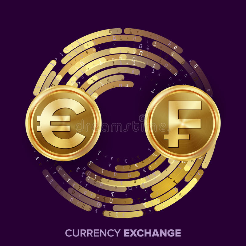 Money Currency Exchange Vector. Euro. Franc. Golden Coins With Digital Stream. Conversion Commercial Operation For royalty free illustration