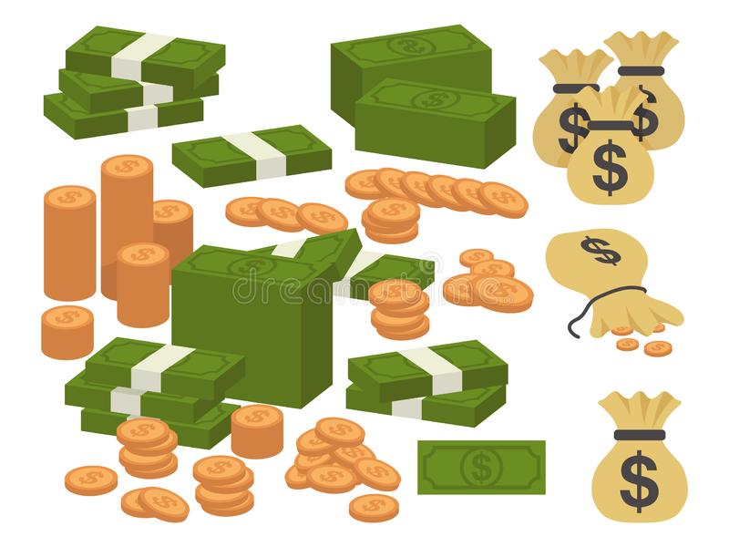 Money currency illustration. Various money bills dollar cash paper bank notes and gold coins. Collection of cash heap pile vector illustration
