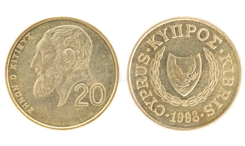 Money of Cyprus - 20 cents. Obverse and reverse stock photo