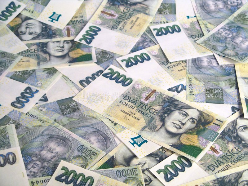Money - Czech crowns notes stock photos
