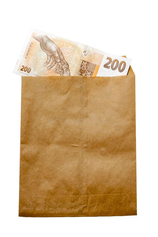 Money of Czech Republic in paper envelop stock photo