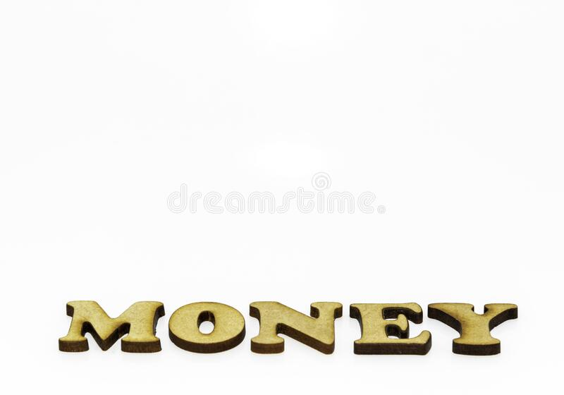 Money written at an abstract angle. stock photography