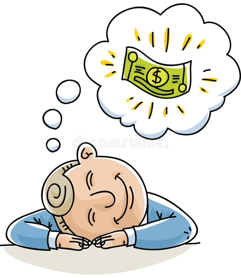 Money Daydream. A cartoon businessman naps and dreams about money vector illustration
