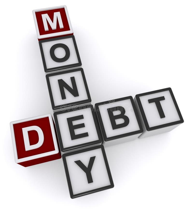 Money debt heading. Money debt crossword heading against white background vector illustration
