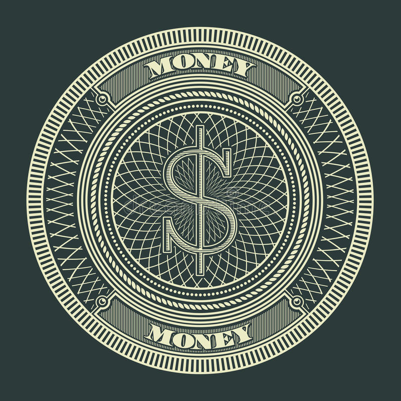 Money Decorative Circle Sign Symbol Vector Illustration. Suitable for graphic element, apparel, and other royalty free illustration