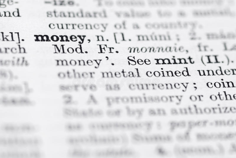 Download Money; Definition In English Dictionary. Stock Image - Image: 22739531