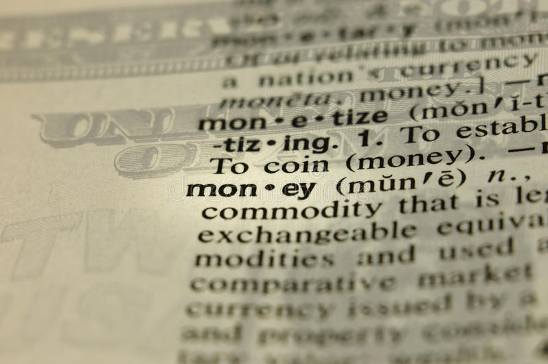 Money Definition With Imposed Background Stock Photo - Image of definition, macro: 10379464