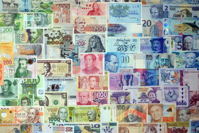 Money of the different countries. Background from paper money of the different countries royalty free stock photo